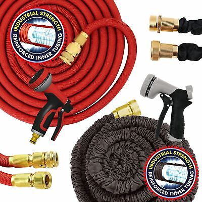 50FT - 150FT Expandable Flexible Garden Hose Pipe Expanding Aluminium Fittings