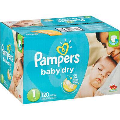 Pampers Baby Dry Diapers Size 1 (8 - 14 lbs) - 120 pack 100% brand new Fast ship
