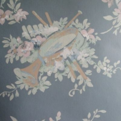 14sr Strahan Historic Music, Roses, Ribbons Handprinted Neoclassical Wallpaper