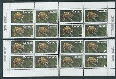 Canada #732 Endangered Wildlife Matched Set Plate Block MNH