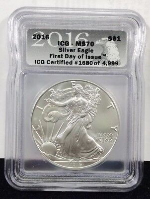 2016 Silver Eagle ICG MS70 First Day Of Issue