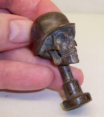 RARE Vintage GERMAN Helmet SKULL Death Head PIPE TAMPER Trench Art BRONZE Brass