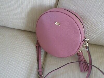 264dcb35519182 Kors Crossbodies Rose Pink Leather Round Canteen Bag Crossbody Handbag NWT