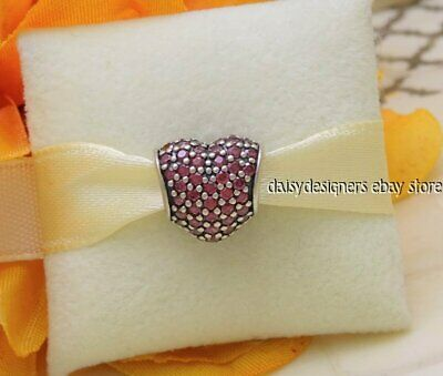 NEW Authentic Pandora Red PAVE HEART Charm 791052CZR RETIRED