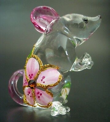 Beautiful Curio Display Glass MOUSE RAT Glass Figure Glass Animal Ornament Gift
