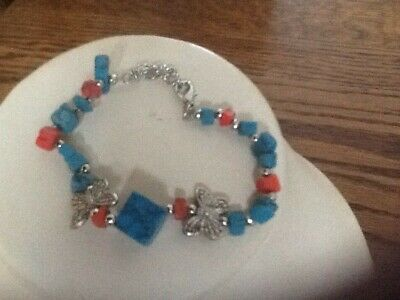 Turquoise/Coral Silver Plated Bracelet