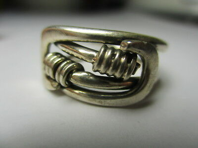 Sterling Silver 925 Estate Coil Twist Wrapped Loop Ends Band Ring Size 6.5