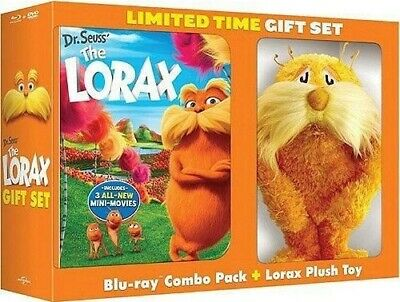 DR SEUSS THE LORAX New Blu-ray + DVD Limited Time Gift Set with Lorax Plush Toy