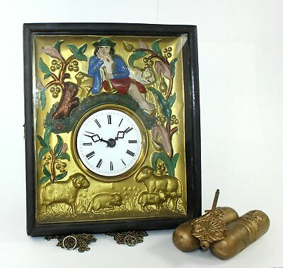 """Picture Framed """"Man With Sheep"""" Clock - Antique - Tb219"""
