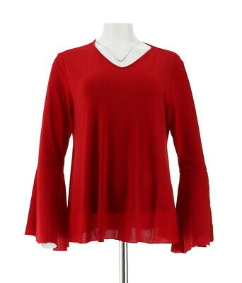 dc98d77668adf IMAN Runway Chic Luxurious Long Bell-Sleeves Top Knit CHILI PEPPER M NEW  568-