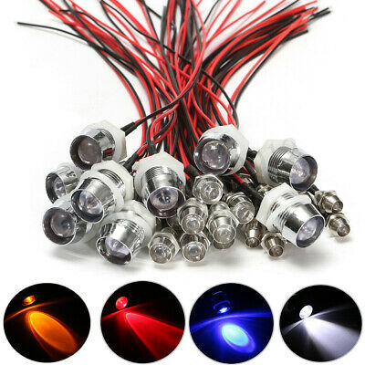 10Pcs Individual 12V 10mm Pre-Wired Constant LED Ultra Bright Water Clear Bulbs