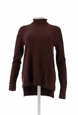 IMAN Global Chic Touch Gold Signature Knit Turtleneck Espresso M NEW 624-359