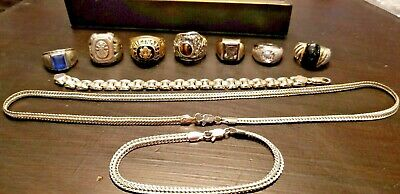 VINTAGE LOT of Mens STERLING SILVER JEWELRY 925 Rings Necklace Bracelets 16 pcs