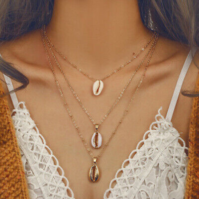 Multi-layer Shell Necklace Women Three Natural Seashell Metal Necklace Pendant