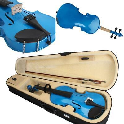 High Quality 4/4 Full Size Blue Acoustic Violin w/ Case Bow Rosin for Sudents