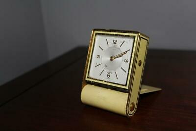 """Vintage LeCoultre Swiss Made """"8 Days"""" Travel Folding Alarm Clock-Works - Yellow"""