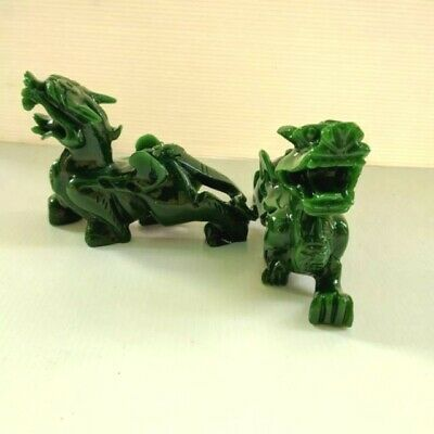 A Pair China Green  Jade Resin Carved Feng Shui Foo Fu Dog Guard Door Lion 4 in