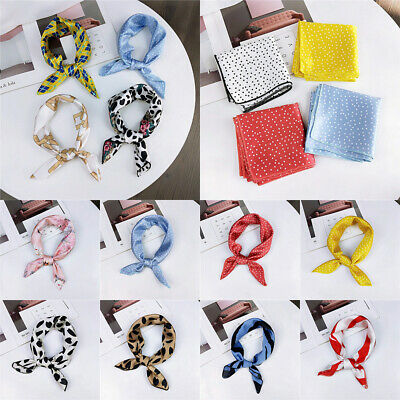 Women Silk Feel Satin Small Square Scarf Retro Head Neck Tie Hair Band Wristband
