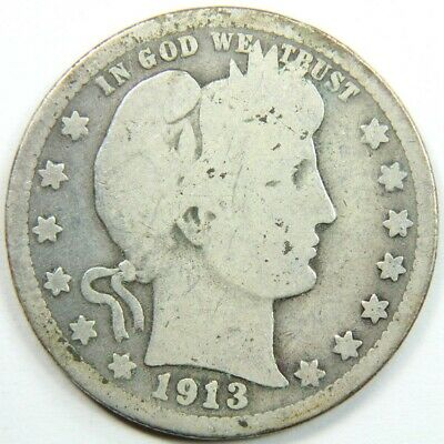 Better Date 1913 Barber Quarter 90 % Silver - Exact Coin Shown 5700