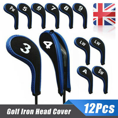 12Pcs/Set Golf Clubs Iron Head Covers Headcovers with Zipper Long Neck Blue Hot