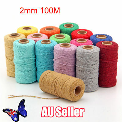 100m 2mm Natural Cotton Rope Cord String Twisted Beige Craft Macrame Artisan L3
