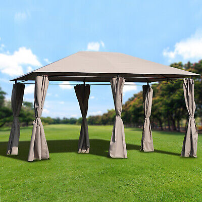 13 X 10 Steel Outdoor Patio Gazebo Pavilion Canopy Tent With Curtains Khaki