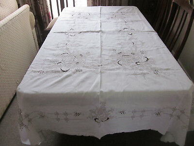 Stunning Large Rectangular Hand Worked Madeira Embroidery Pure Cotton Tablecloth