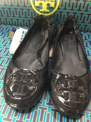 23b85adcb88 TORY BURCH  225 BLACK PATENT sz 8 LEATHER REVA MINNIE BALLET FLATS LOGO  DUST BAG