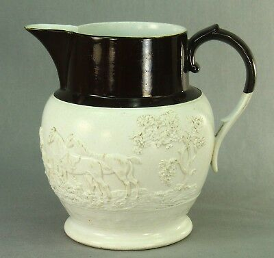 !c.1800 British Felspathic Stoneware White/Brown Jug - Hunting Scene, Sgnd MAYER