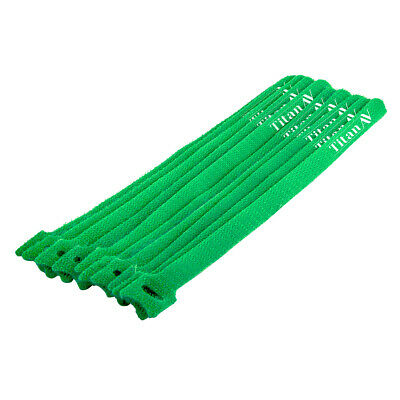 Hook & Loop Cable Tie, 250mm, Green, 10 pcs