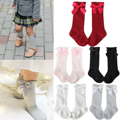 Baby Girls Knee High Socks Spanish Style Ribbon Bow Socks Stockings Home Party