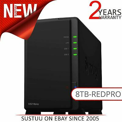 Synology DiskStation DS218play 8TB (2 x 4TB WD RED PRO) 2 Bay Desktop NAS Unit