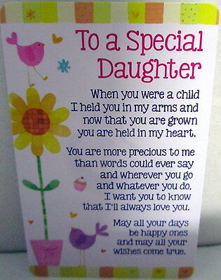 """Heartwarmer Keepsake Message Card """"To A Special Daughter"""" Sweet Birthday Gift"""