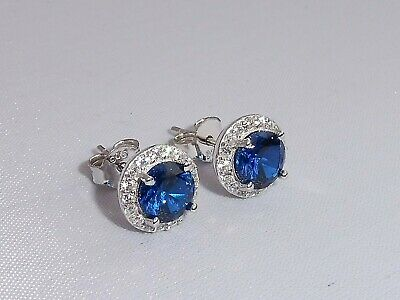 Ladies Sterling 925 Solid Fine Silver Blue and White Sapphire Cluster Earrings