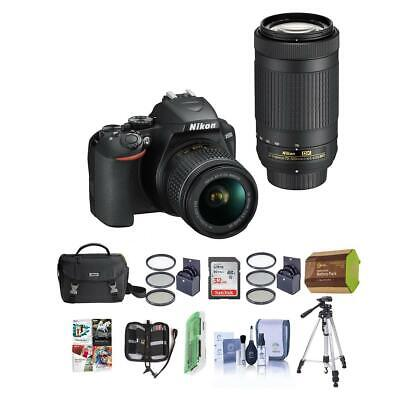 Nikon D3500 24MP DSLR Camera with NIKKOR 18-55mm and 70-300mm Lens W/Premium Kit