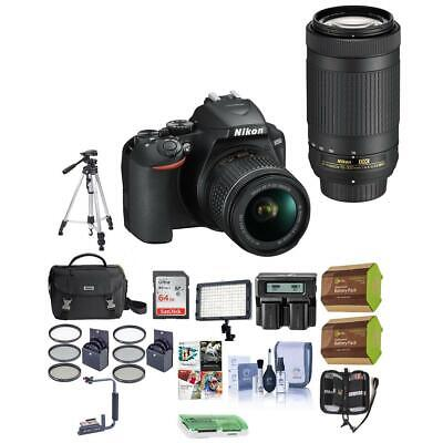 Nikon D3500 24MP DSLR Camera with NIKKOR 18-55mm and 70-300mm Lens W/Pro Acc Kit