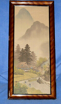 """Antique Japanese Hand Painted Mountain Scene Silk Painting - 10"""" X 22"""" , Signed"""
