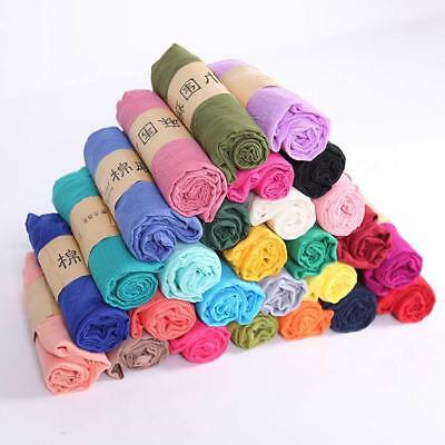 Classic Elegant Plain Cotton Linen Soft Feel Ladies Spring Scarf Shawl Neck Wrap