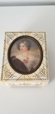 Vintage/antic bone inlayed jewelry box with a signed woman portrait, Germany
