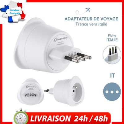 Adaptateur Voyage Prise France/Europe vers İtalie, 2 Broches vers 3 Broches