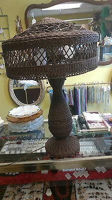 Antique Arts & Crafts Wicker Table Lamp Stickley ?