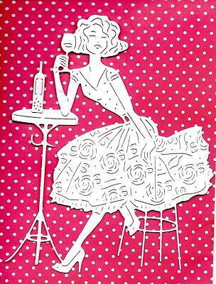 New Large Tattered Lace Wine O'clock Lady  Die Cuts-   Topper Drink Party Mum