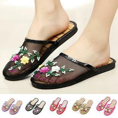 2e64d82ae892d Women Chinese Mesh Floral Slippers Slides Slip On Flats Flip Flop Loafers  Mules