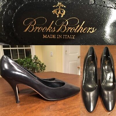 bdafccc60b1 BROOKS BROTHERS Classic Black Leather Point-Toe Heels Pumps Sz 10 Made in  Italy
