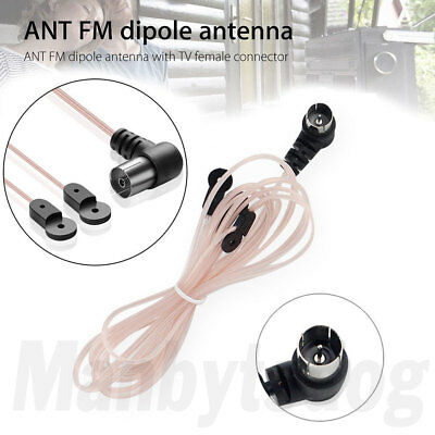 2X FM Dipole Indoor T Antenna HD Aerial Male Type F Connector 75 OHM US Seller