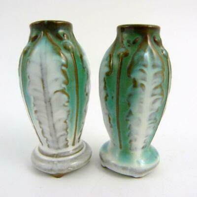 Pair Vintage Japanese Porcelain Miniature Cabbage Vases Marked Occupied Japan