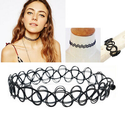 Tattoo Choker Stretch Necklace Retro Henna Vintage Elastic Boho 90s Gothic V8Y1G