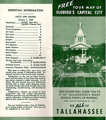 TALLAHASSEE FL VINTAGE 1959 Travel Brochure Tour Map B&W Photos Facts &  Figures