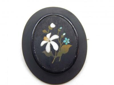 Large Antique Victorian Georgian Micro Mosaic Pietra Dura Pin Brooch Silver