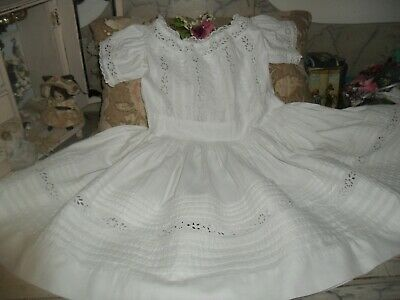 Gorgeous Hand Stitched French Broderie Anglais Dress ~ Baby Or Doll